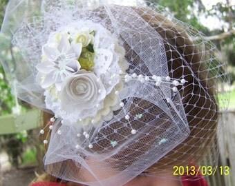 Bridal Veil Fascinator With Handmade Paper Flower Decor