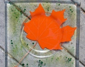 Handmade fused glass Maple Leaf dish