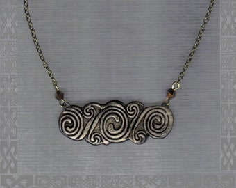 Medieval Celtic necklace on vintage chain - double spiral motif - black and grey