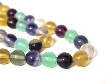 Rainbow Fluorite beads, 10mm round natural gemstone bead, full & half strands (712S)