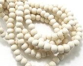 Whitewood, 6mm - 7mm, Bleached, Round, Small, Smooth, Natural Wood Beads, 16 Inch Full Strand, 70pcs - ID 1420