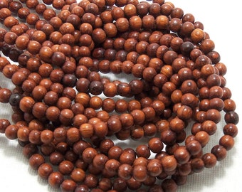 Bayong Wood, Round, 4mm - 5mm, Natural Wood Beads, Smooth, Very Small, Full 16 Inch Strand, 90pcs - ID 1380