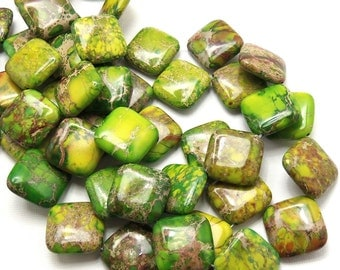 Impression Stone, Bright Green, Diamond, Flat, Smooth, Gemstone Beads, 20mm, Large, Sold by Half-Strand, 9pcs - ID 1475