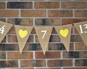 Wedding Banner , Wedding Date banner .. Engagement Photo .. Bridal Shower Banner .. Photo Prop .. Burlap Banner