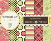 Instant Download - Sugar Blossom -- 12x12 Digital Printable Scrapbook Paper Pack 6-pack -- Buy 3 Digital Paper Packs Get 1 FREE