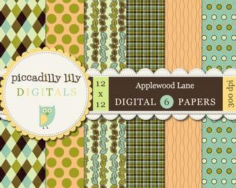 Instant Download - Applewood Lane -- 12x12 Digital Printable Paper Pack Green Brown Orange -- Buy 3 Digital Paper Packs Get 1 FREE