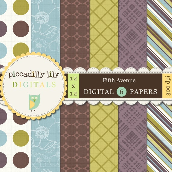 Instant Download - Fifth Avenue -- 12x12 Digital Printable Paper Pack Brown Blue Green Lavender