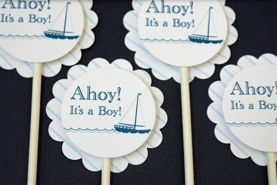 Cupcake Toppers - Ahoy, it's a Boy! Baby Shower Nautical Sailboat and Blue Stripes