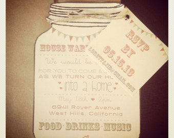 Vintage Mason Jar Housewarming Party Invitations