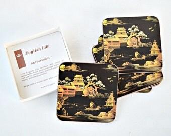 Coasters Moonlight pavilion English life oriental design black England hostess gift housewarming Christmas