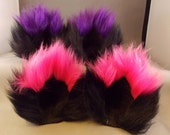 Extra Fluffy Black Kitty Cat Ears with Colored Tips Fuzzy Cat Ear Clips Purple Hot Pink White with or without Tails