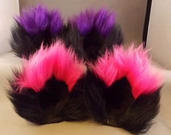 Extra Fluffy Black Kitty Ears with Colored Tips Fuzzy Cat Ear Clips  with tail