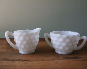 Vintage Milk Glass Cream and Sugar Set