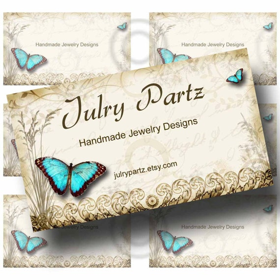 Teal butterfly business cards 35 x 2 printable digital for Butterfly business cards