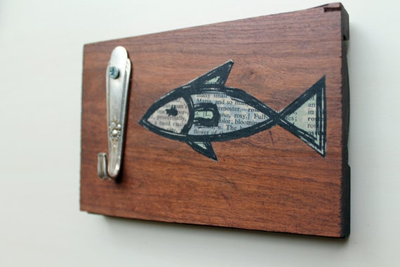 Fish Wall Decor Wood : Fish wall hook reclaimed wood with art and by
