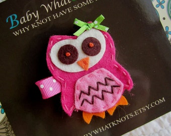 Owl Hair Clip, Pink Owl Hair Clip, Owl Barrett