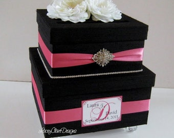 Vintage Style Card Box - silk dupioni and vintage inspired brooches Custom Made