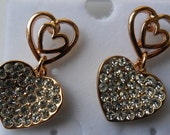Fashion Jewelry- Lovely Dangle Heart Crystal Glass Gold Plated Stud Earrings