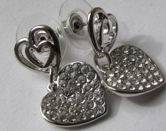 Fashion Jewelry- Lovely Heart Shape  Crystal Rhinestone  Smooth Silver  Stud Earrings