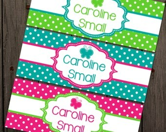 Waterproof Labels, Waterproof Stickers, Name Labels, Dishwasher Safe Daycare Labels, School Labels, Butterfly Labels, Girl School Labels