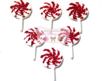 Red  Lollipops 30 X 18mm - Set of 6