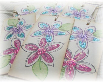 Flower Tags - Decorative - Gift -Hang Tags (6) OOAK