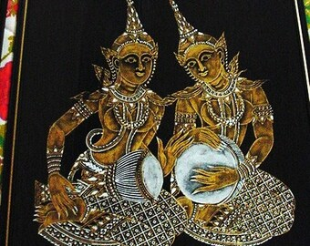 1950s Thai Block Print on Silk - two women playing instruments