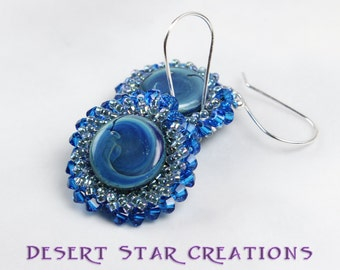 Blue Yoyo Spiral Stitched Drop Earrings