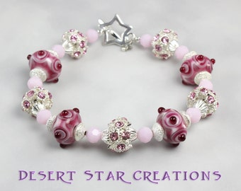 Pink Lampwork and Crystal Starburst Bracelet