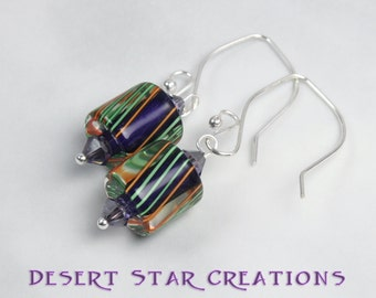 Purple Blue Striped Cane Glass Earrings, Furnace Glass Drop Earrings, Color Choice
