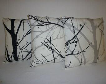 "3 Plllows Funky Retro Black Grey White Tree Designer Cushion Covers. Pillowcases Decorative Shams Slips Scatter 16"" (40cm)"