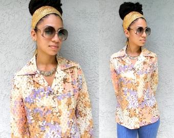 The Egyptian Goddess Disco Blouse - Vintage 70s Boho Disco Blouse w/ Metallic Gold and Copper Thread Embroidered Fabric - Medium M Size 8 10