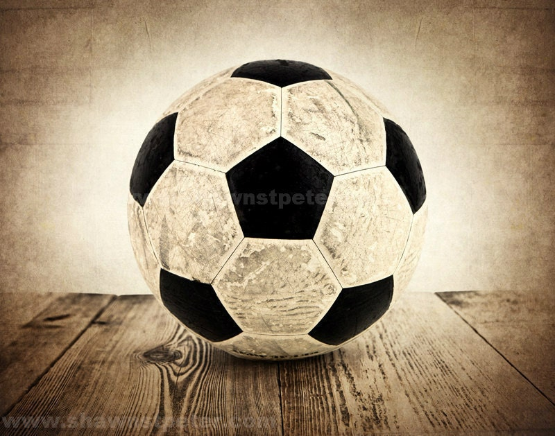Vintage Soccer Ball On Wood Photo Print Boys Room Wall
