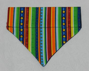 Colorful Stripes Denim Bright Circus Color Theme. Dog Cat Ferret Reversible 2 in 1 Over the Collar Bandana. Custom made just for your pet