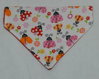 Colorful Red & Pink Lady Bug Flower Daisy Theme. Dog Cat Ferret Reversible 2 in 1 Over the Collar Bandana. Custom made just for your pet