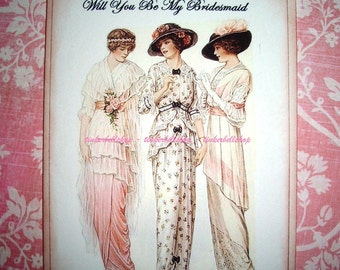 Wedding Card - Will You Be My Bridesmaid - Beautiful Vintage Image - Victorian  Ladies - Bridesmaid Card
