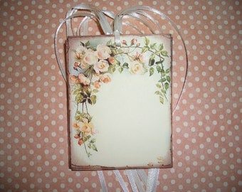 Rose Floral  Tags - Lovely Floral Spray Boarder - Set of Six - Wish Tree Tags Wish Cards Wedding Shower