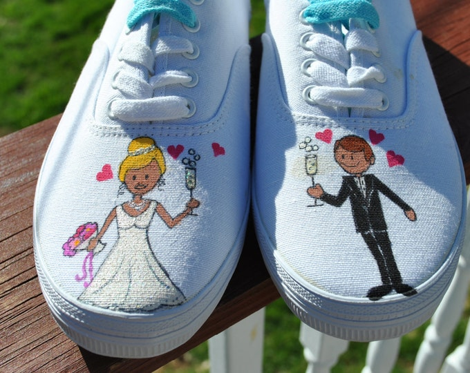For Sale Wedding Day Hand Painted Sneakers size 9w