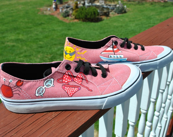 For Sale Beach or Summer Hand Painted Sneakers Air Walks size 8