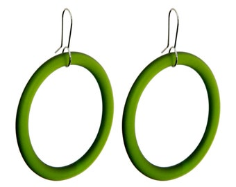 Large Hoop Recycled Green Glass Earrings