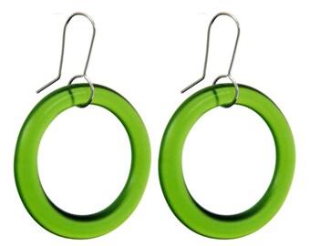 Medium Hoop Recycled Green Glass Earrings
