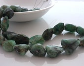 Rustic faceted emerald nugget beads 10-15mm 1/2 strand 8 inches