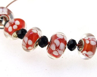 Big Hole 4.5mm 5Bead White Flower Clear Red Lampwork bead Candy  Handmade jewelry designs European Style