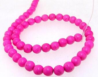 Charm 8MM Round Peach Howlite Turquoise Gemstone Beads One Strand