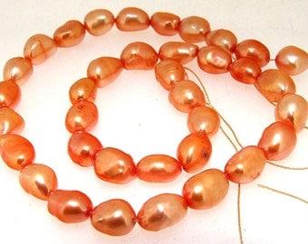 "Rice Freshwater pearl Cultured Pearl Orange Red Pearl 7mm-8mm Gemstone Beads Full Strand 15"""