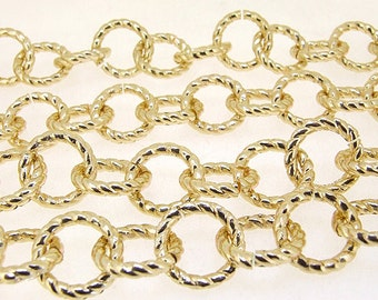 """38"""" Charm Shiny Twist O plated Gold on aluminum chain alloy circle chain Shiny O loop chain deep 3mm loop about 16.5mm"""
