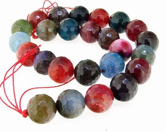Faceted big rainbow Agate Gemstone Beads 16mm One Strand