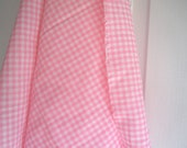 Pink Gingham Vintage Fabric Remnant