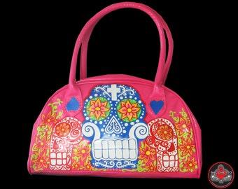 sugar skull hot pink handbag