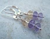 Purple Earrings Sterling Silver Jewelry Ametrine Leverback Earrings Handmade Jewelry